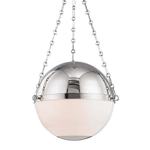 Sphere No.2 Gray and White Three-Light Chandelier