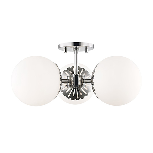 Paige Polished Nickel 3-Light 17.5-Inch Semi Flush