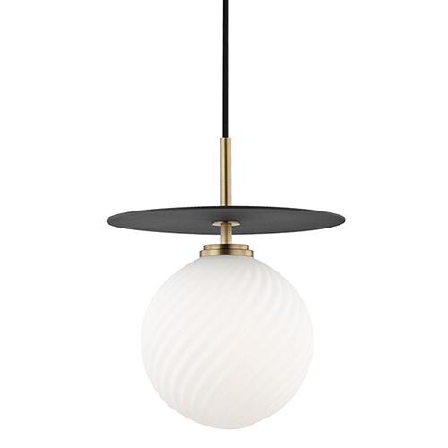 Mitzi by Hudson Valley Lighting Ellis Aged Brass Black LED 10-Inch Pendant