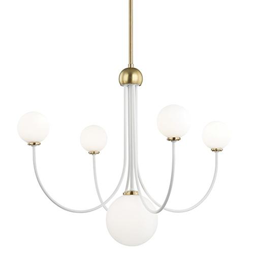 Mitzi by Hudson Valley Lighting Coco Aged Brass White 5-Light 30-Inch Chandelier