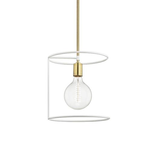 Dana Aged Brass White 1-Light 11-Inch Pendant