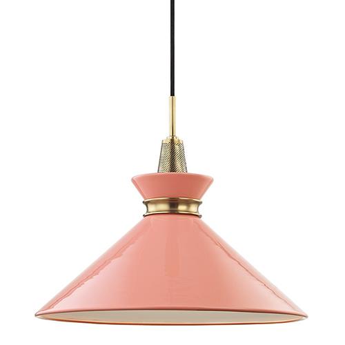 Mitzi by Hudson Valley Lighting Kiki Aged Brass 1-Light 18-Inch Pendant