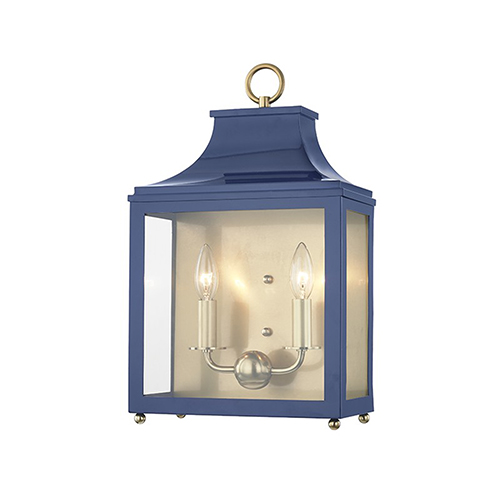 Mitzi by Hudson Valley Lighting Leigh Aged Brass Navy 2-Light 11.5-Inch Wall Sconce