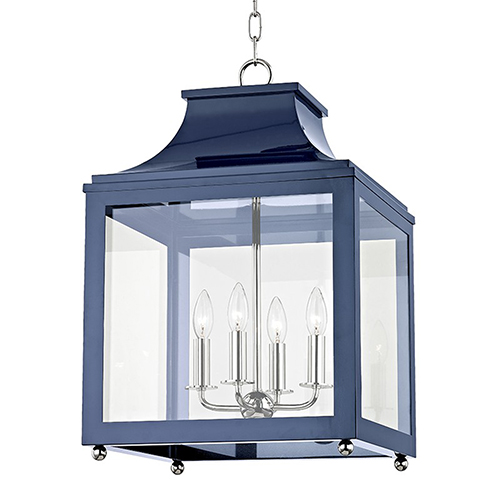 Mitzi by Hudson Valley Lighting Leigh Polished Nickel Navy 4-Light 16-Inch Pendant