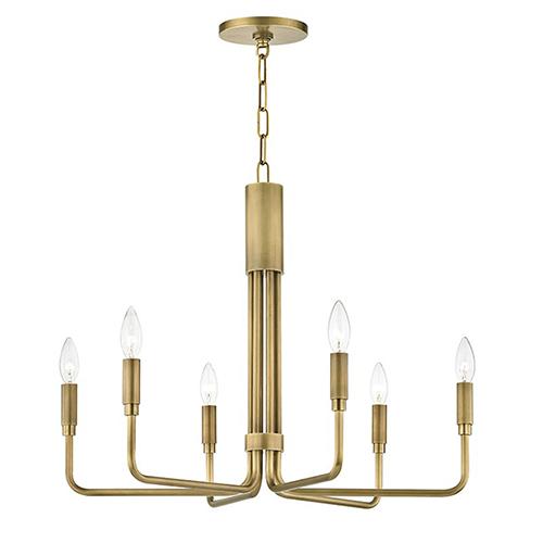 Brigitte Aged Brass 6-Light 25-Inch Chandelier