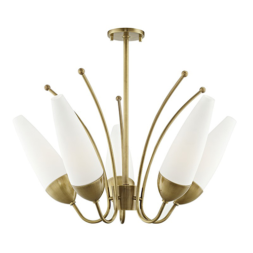 Mitzi by Hudson Valley Lighting Amee Aged Brass 5-Light 29-Inch Chandelier