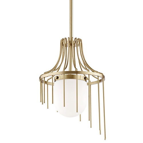 Mitzi by Hudson Valley Lighting Kylie Aged Brass 1-Light 12-Inch Pendant