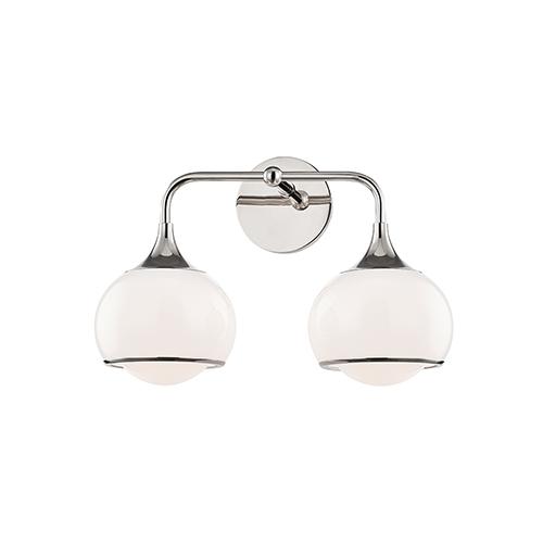 Reese Polished Nickel Two-Light Bathroom Vanity Light