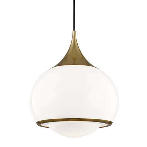 Mitzi by Hudson Valley Lighting Reese Aged Brass 14-Inch One-Light Pendant