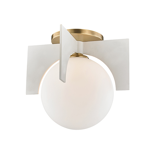 Nadia Aged Brass and White 11-Inch One-Light Flush Mount