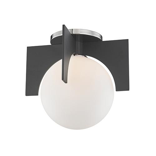 Nadia Polished Nickel and Black One-Light Flush Mount
