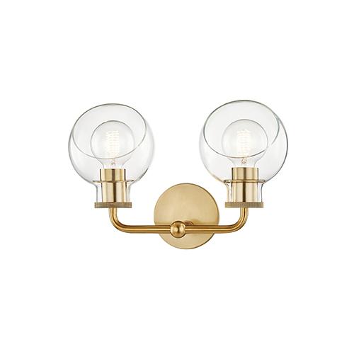 Noelle Aged Brass Two-Light Bath Bracket