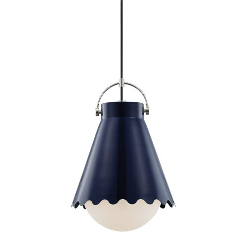 Lauryn Polished Nickel and Navy One-Light Pendant