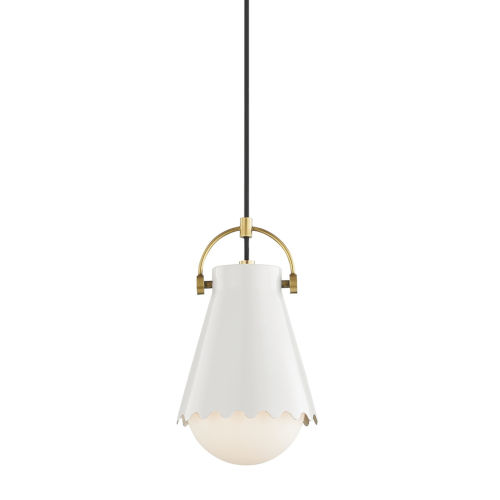Lauryn Aged Brass and White One-Light Mini Pendant
