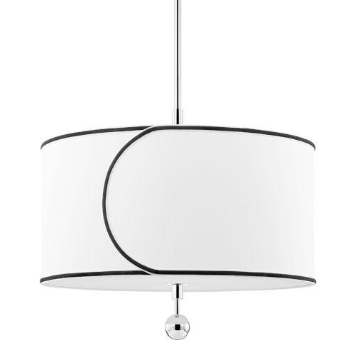 Zara Polished Nickel Three-Light Drum Pendant with Belgian Linen Shade