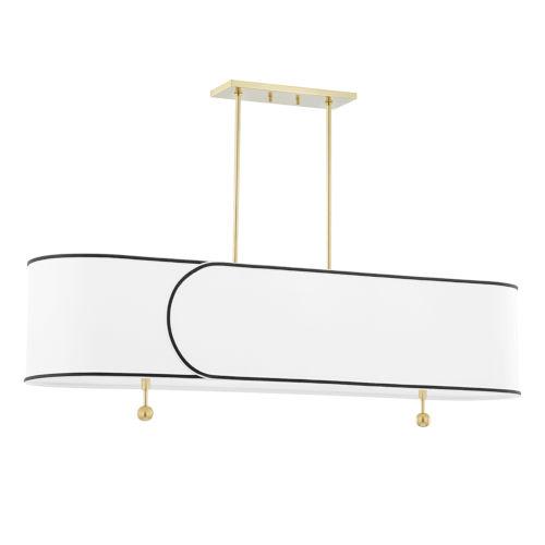 Zara Five-Light Island Chandelier with Belgian Linen Shade