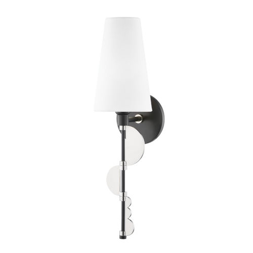 Phoenix Polished Nickel and Black One-Light Wall Sconce