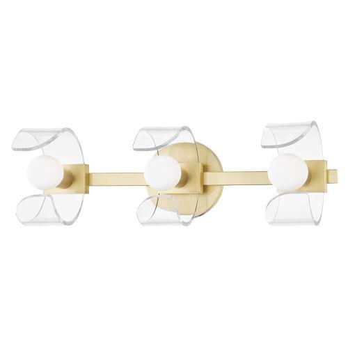 Ora Aged Brass Three-Light Wall Sconce