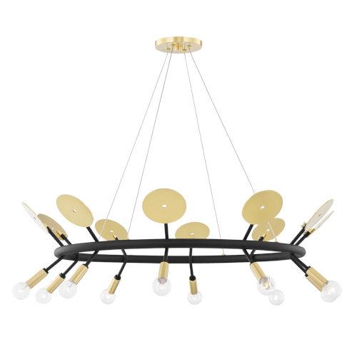 Fern Aged Brass and Black 10-Light Chandelier