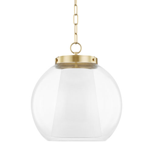 Sasha 17-Inch One-Light Globe Pendant with Belgian Linen Inner Shade