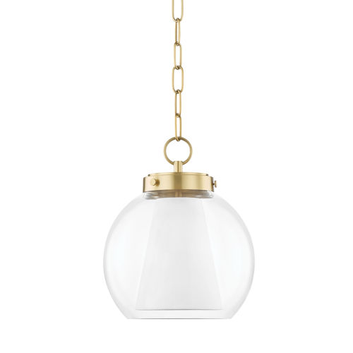 Sasha 12-Inch One-Light Globe Pendant with Belgian Linen Inner Shade