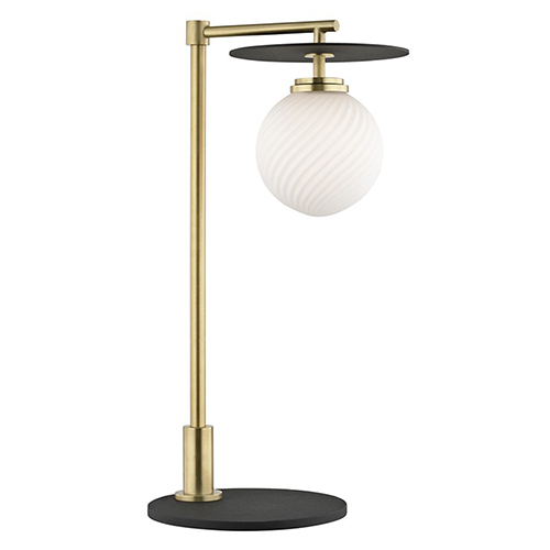 Ellis Aged Brass Black LED 8-Inch Table Lamp