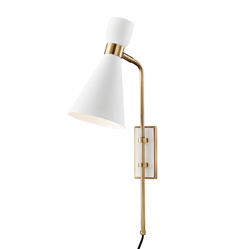Willa Aged Brass and White One-Light Wall Sconce