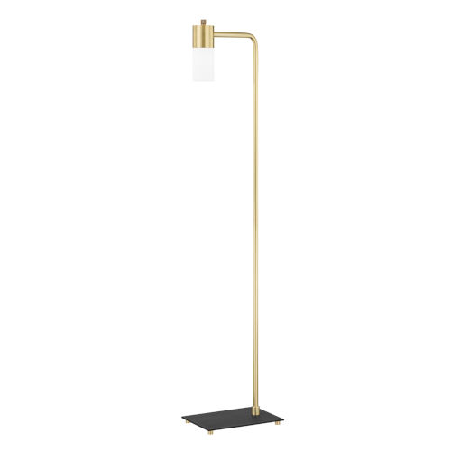 Lola Aged Brass LED Armchair Floor Lamp with Opal Matte Glass