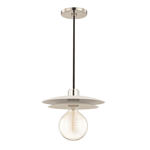 Mitzi by Hudson Valley Lighting Milla Polished Nickel 10-Inch One-Light Pendant