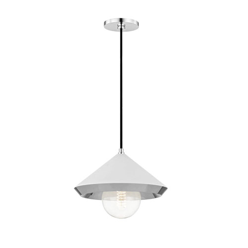 Mitzi by Hudson Valley Lighting Marnie Polished Nickel 12-Inch One-Light Pendant with White Shade