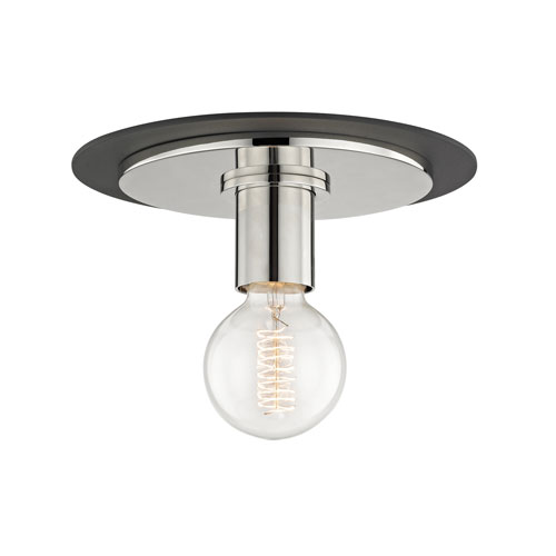 Mitzi by Hudson Valley Lighting Milo Polished Nickel 9-Inch One-Light Flush Mount with Black Accents