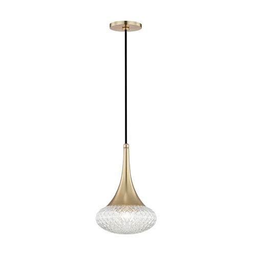 mitzi by hudson valley lighting bella aged brass 9 inch one light mini pendant - Hudson Valley Lighting