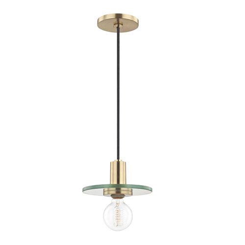 Mitzi by Hudson Valley Lighting Peyton Aged Brass 8-Inch One-Light Mini Pendant