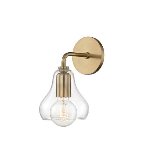Mitzi by Hudson Valley Lighting Sadie Aged Brass 6-Inch One-Light Wall Sconce