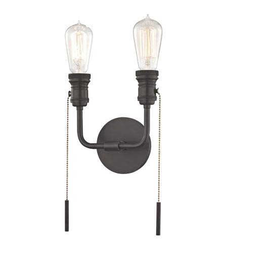 Lexi Old Bronze 8-Inch Two-Light Wall Sconce