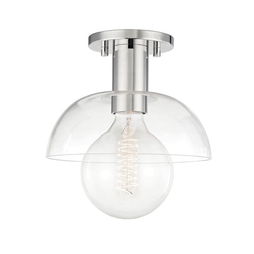 Mitzi by Hudson Valley Lighting Kyla Polished Nickel 9-Inch One-Light Semi-Flush Mount