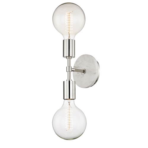 Chloe Polished Nickel 5-Inch Two-Light Wall Sconce