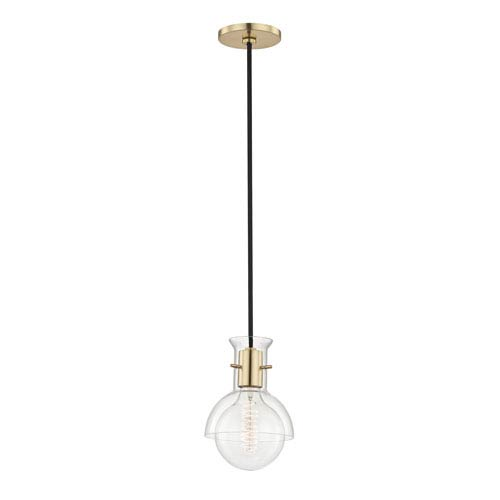 Riley Aged Brass 6-Inch One-Light Mini Pendant with Clear Glass