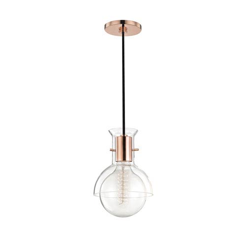 Riley Polished Copper 6-Inch One-Light Mini Pendant with Clear Glass