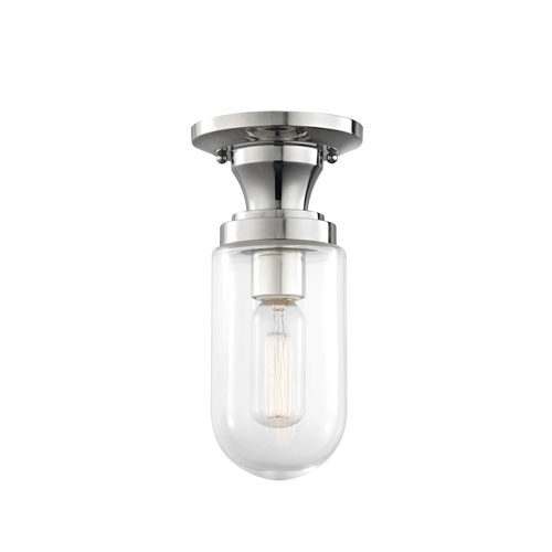 Mitzi by Hudson Valley Lighting Clara Polished Nickel 5-Inch One-Light Semi-Flush Mount
