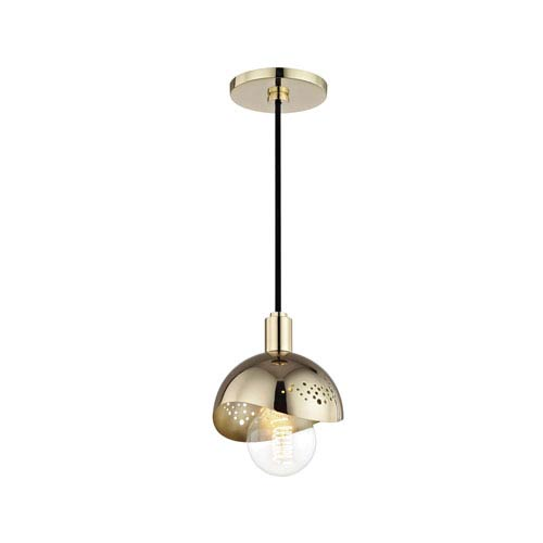 Heidi Polished Brass 6-Inch One-Light Mini Pendant