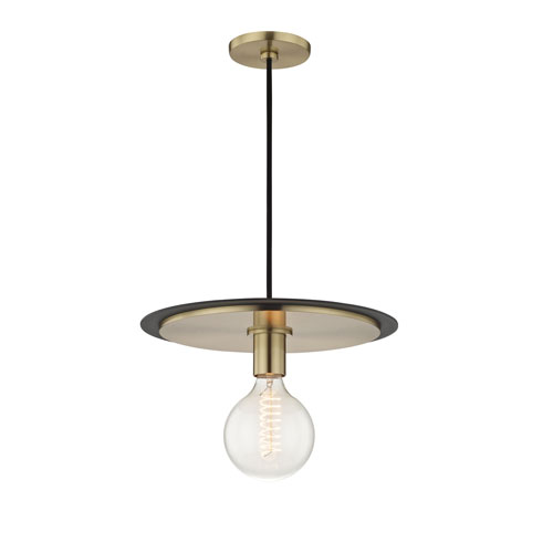 Mitzi by Hudson Valley Lighting Milo Aged Brass 14-Inch One-Light Pendant with Black Accents