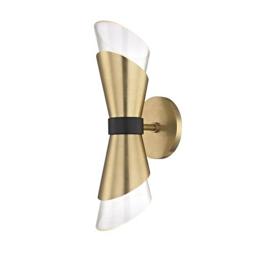 Angie Aged Brass 5-Inch Two-Light Wall Sconce