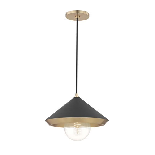 Marnie Aged Brass 12-Inch One-Light Pendant with Black Shade