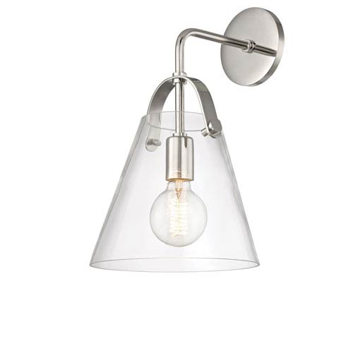 Mitzi by Hudson Valley Lighting Karin Polished Nickel 9-Inch One-Light Wall Sconce