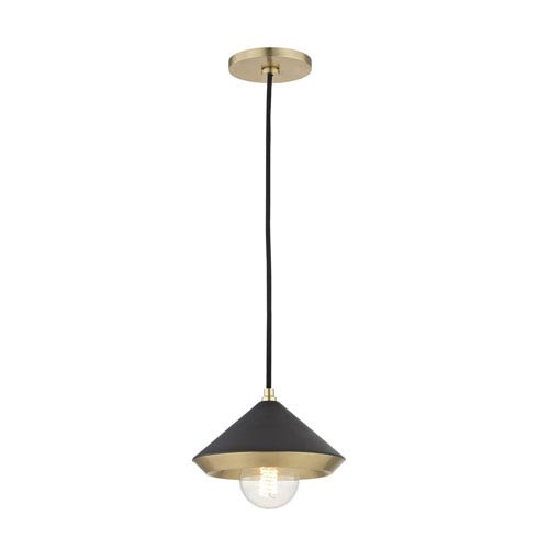 Mitzi by Hudson Valley Lighting Marnie Aged Brass 8-Inch One-Light Mini Pendant with Black Shade