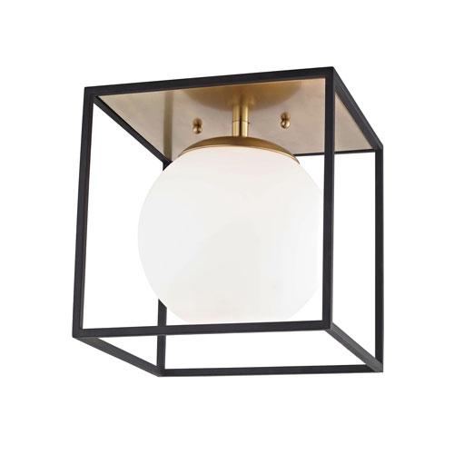 Aira Aged Brass 14-Inch One-Light Flush Mount