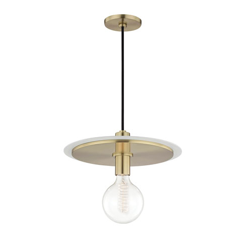 Mitzi by Hudson Valley Lighting Milo Aged Brass 14-Inch One-Light Pendant with White Accents