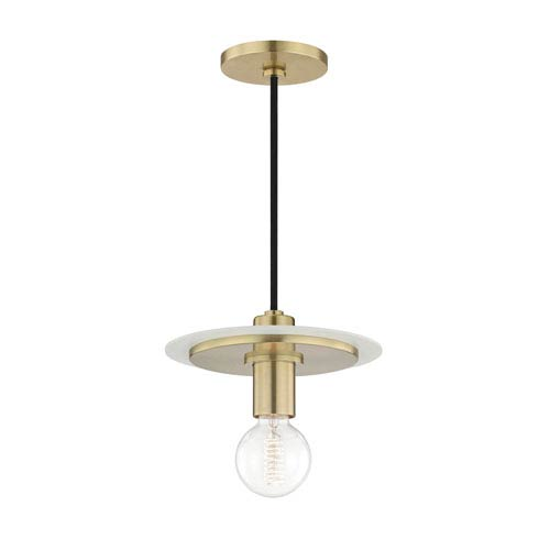 Milo Aged Brass 9-Inch One-Light Mini Pendant with White Accents