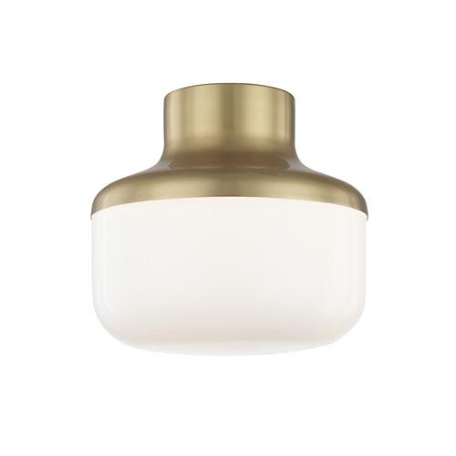 Mitzi by Hudson Valley Lighting Livvy Aged Brass 9-Inch One-Light Flush Mount